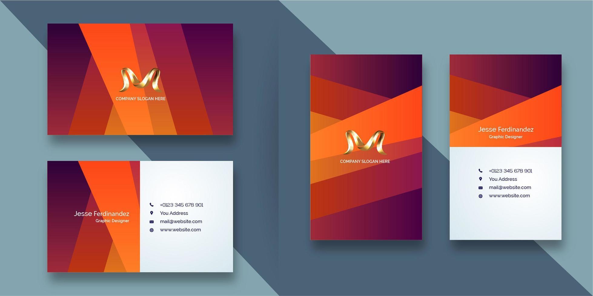 Modèle de carte de visite de style abstrait dégradé orange vecteur