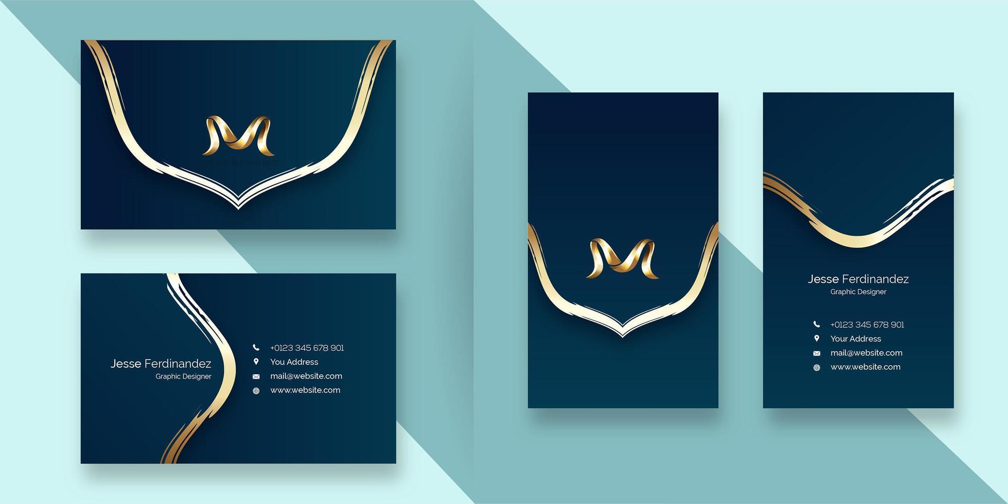 Modèle de carte de visite de style de ligne de courbe de couleur bleu foncé élégant vecteur