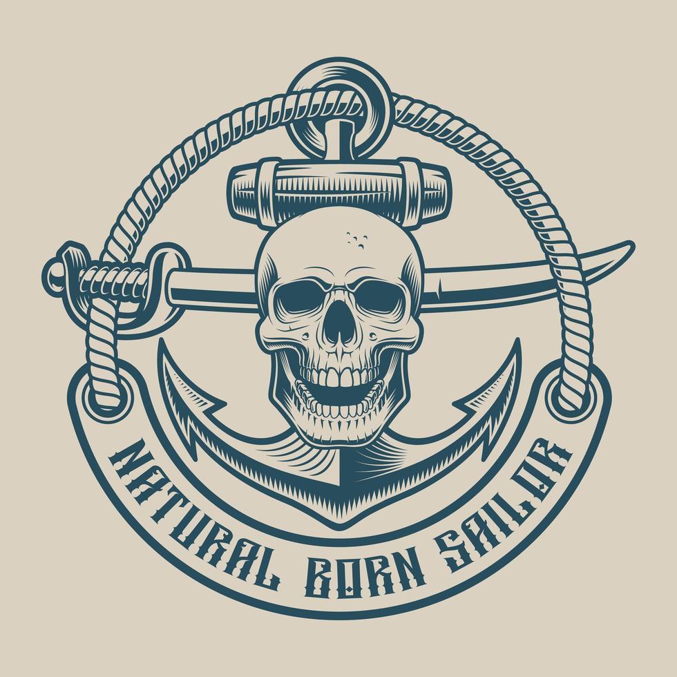 Design de t-shirt avec un crâne, un sabre et une ancre dans un style vintage vecteur