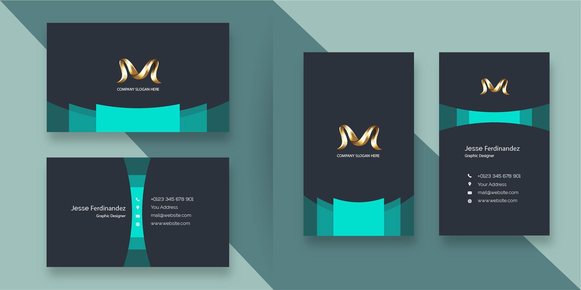 Modèle de carte de visite d'entreprise moderne gris foncé et bleu verdâtre vecteur