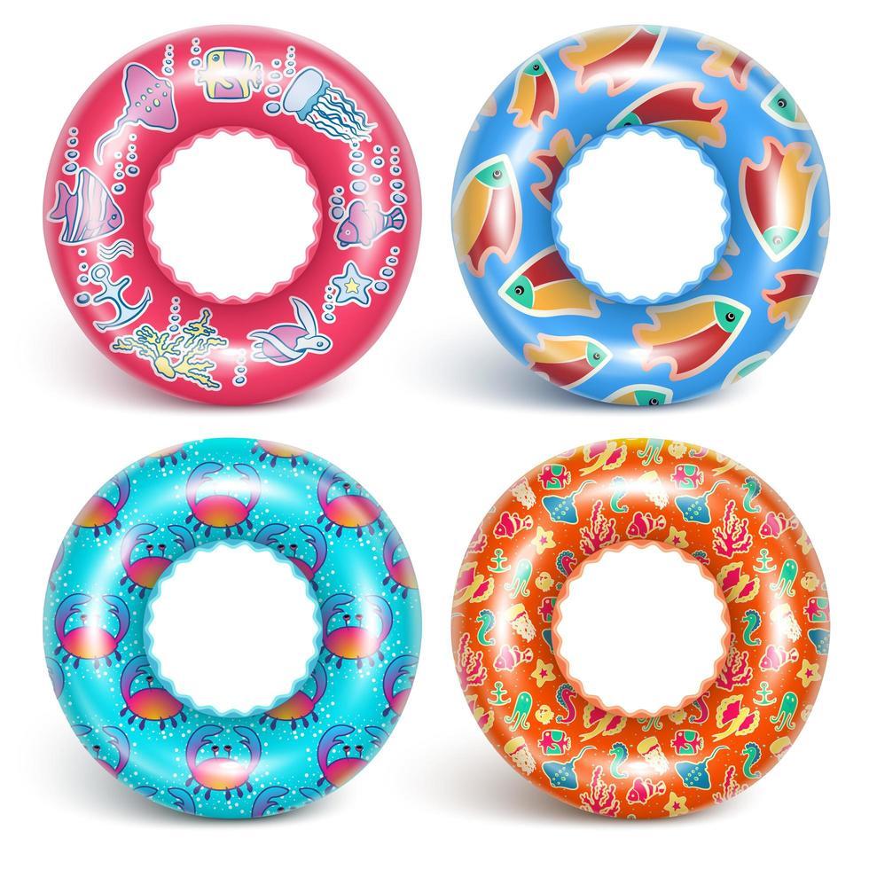 4 anneaux gonflables avec un motif vecteur