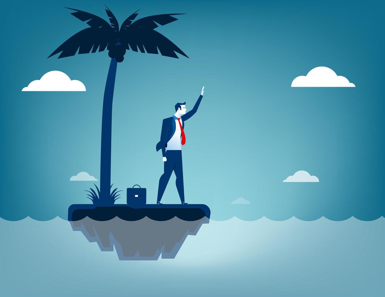 Homme d'affaires naufragé sur l'île vecteur