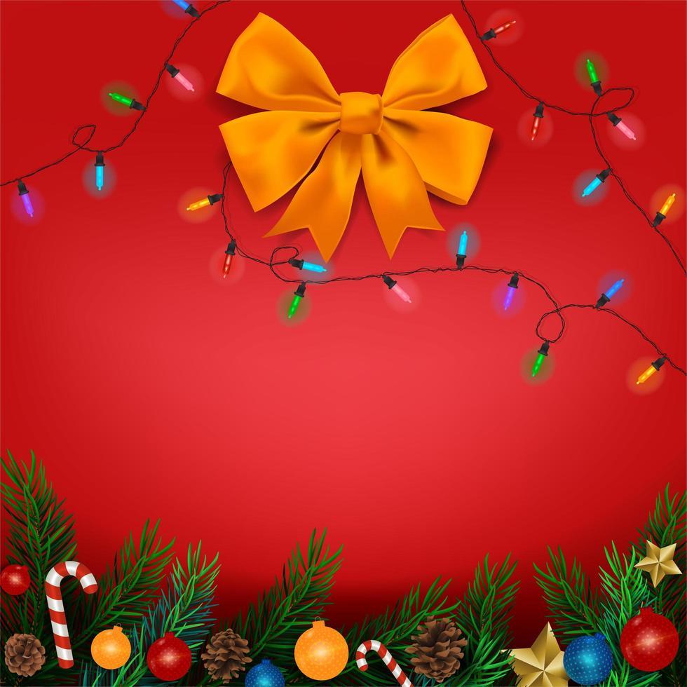 Branches d'arbres de Noël avec des ornements sur fond rouge avec arc et lumières vecteur