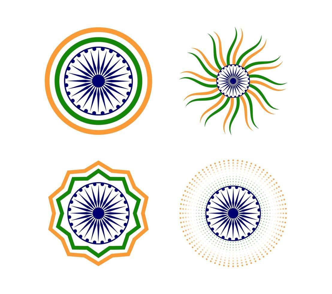 Ensemble d'éléments de joyeux jour de la République indienne vecteur