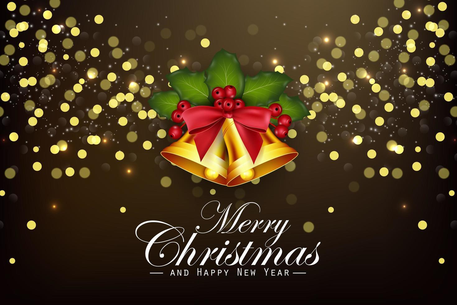 Fond de Noël cloches dorées et baies de houx vecteur