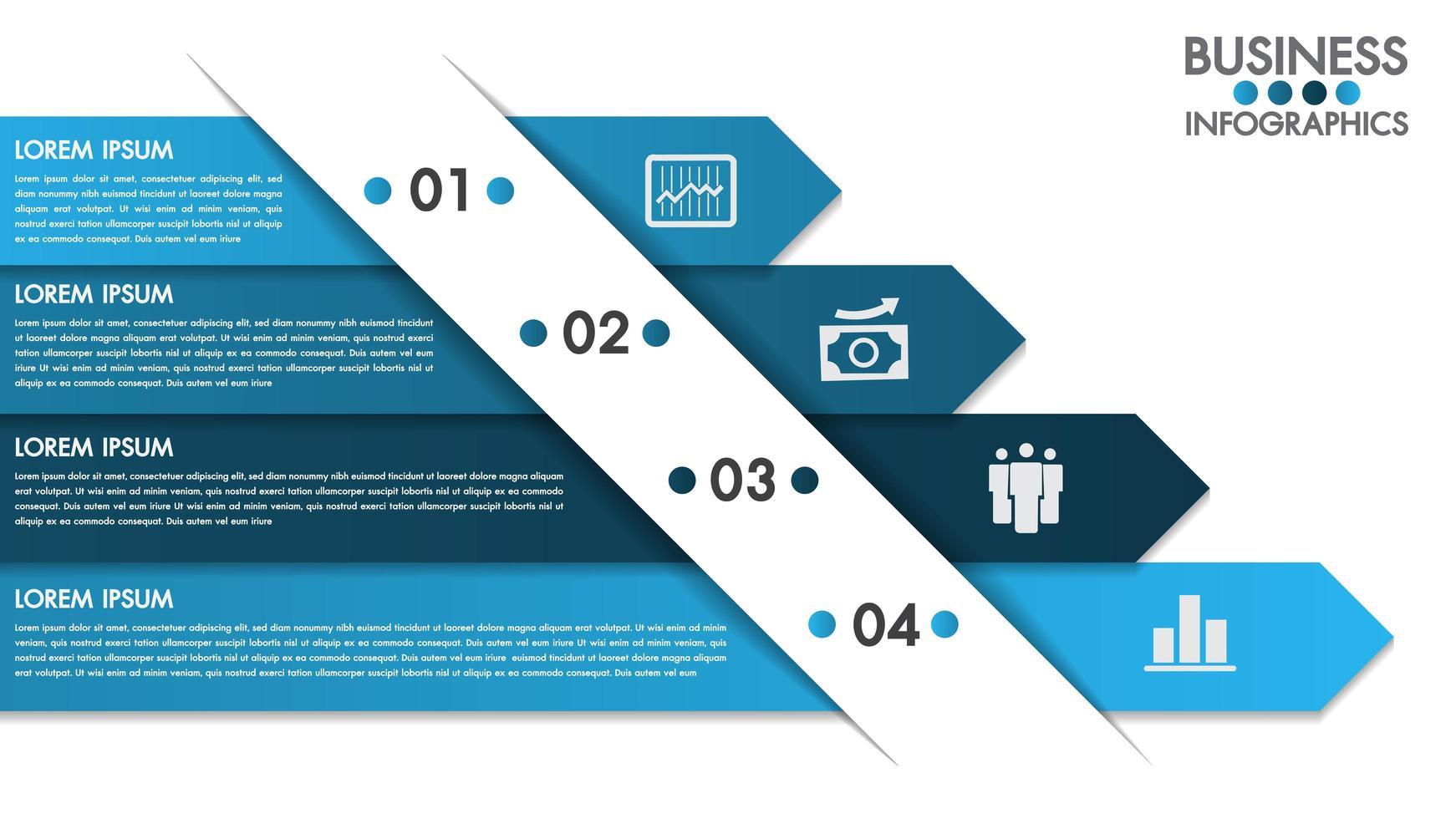 Modèle de conception d'infographie avec concept 4 options vecteur