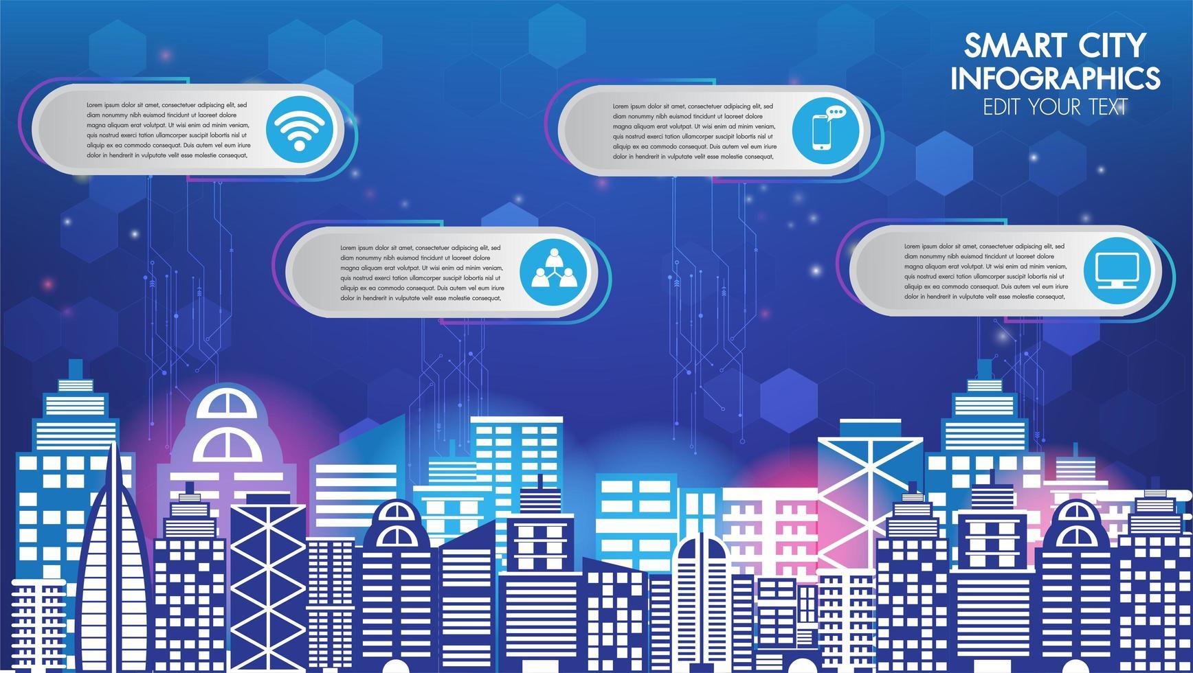 Infographie de la technologie Smart City vecteur