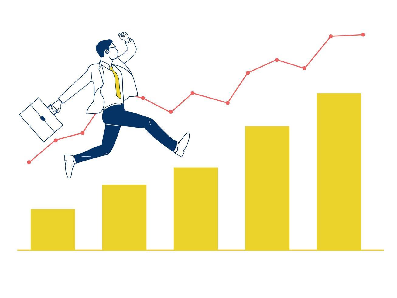 Homme d'affaires sautant sur le graphique. vecteur
