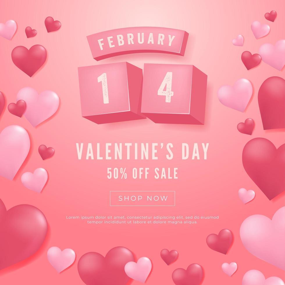 14 février, bannière de vente de la Saint-Valentin. vecteur