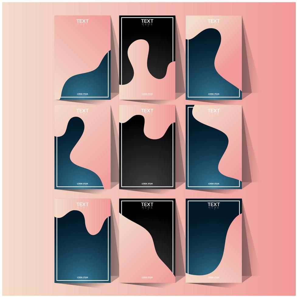 ensemble de modèles de page de couverture abstraite ondulée rose et bleu vecteur