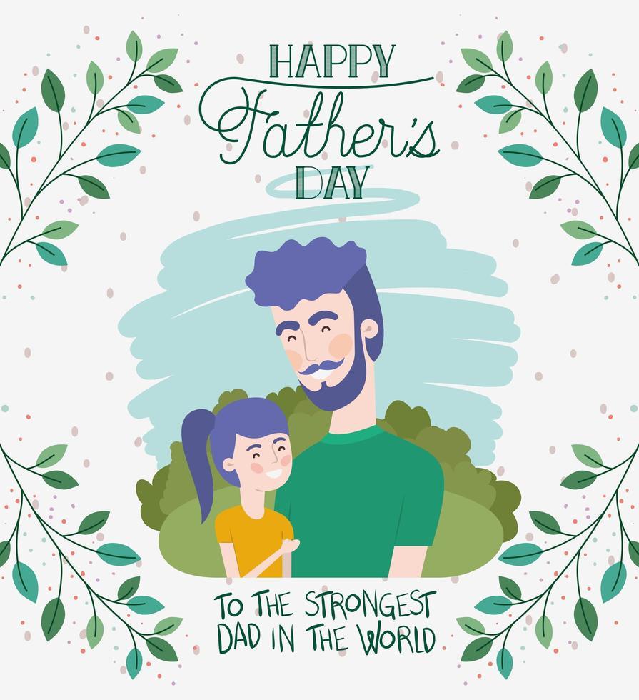 carte de fête des pères heureux avec feuillage et papa et fille vecteur