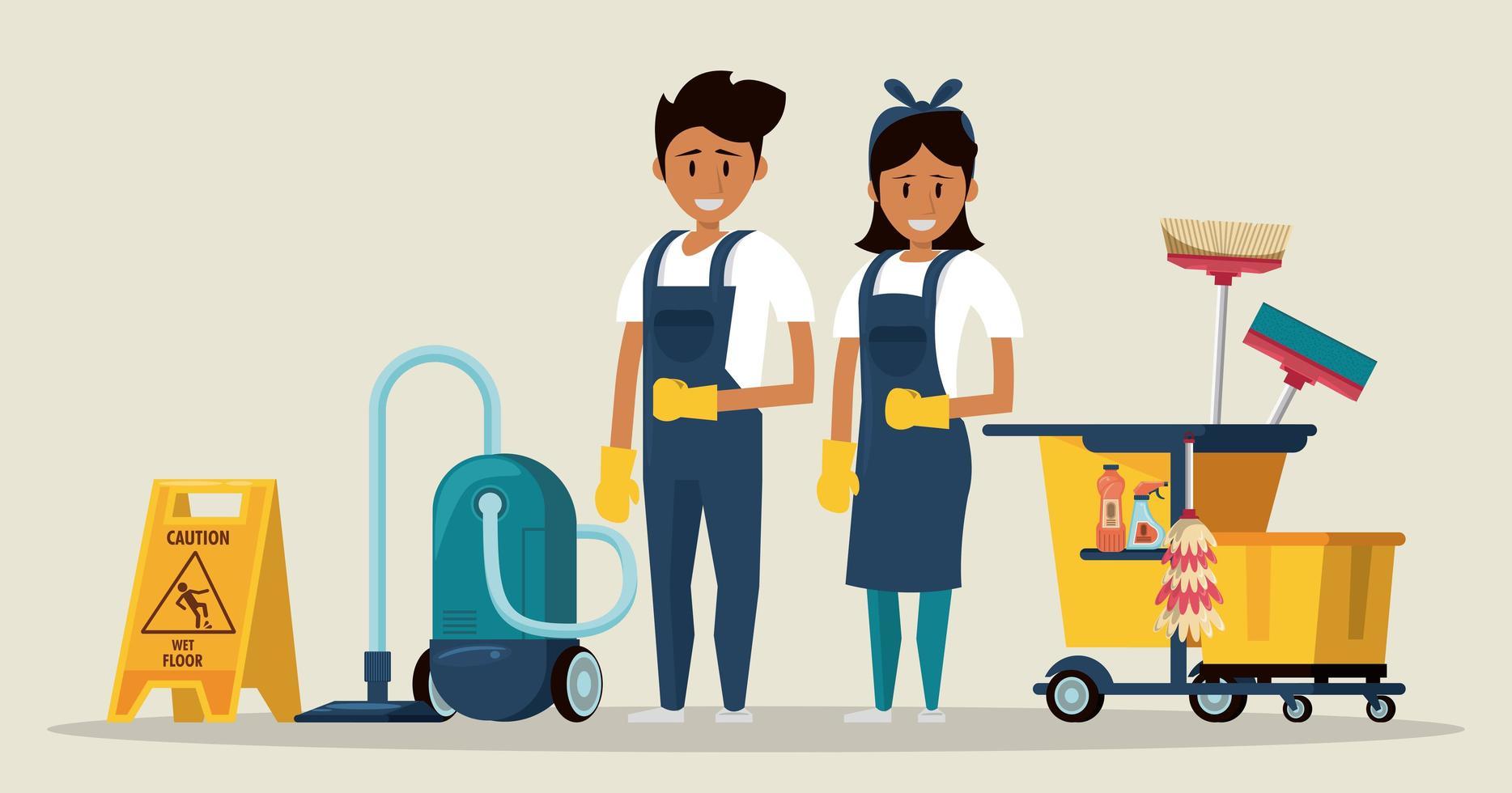 Nettoyeurs avec des produits de nettoyage service d'entretien ménager vecteur