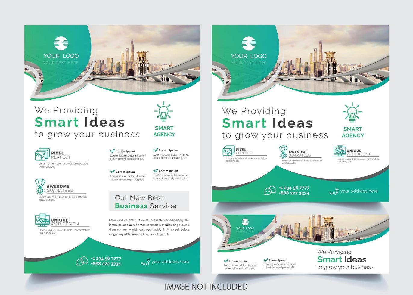 Flyer d'affaires de conception incurvée verte vecteur