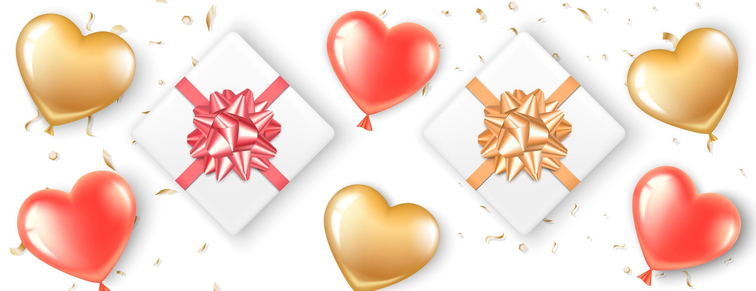 Bannière avec ballons coeur et cadeaux vecteur