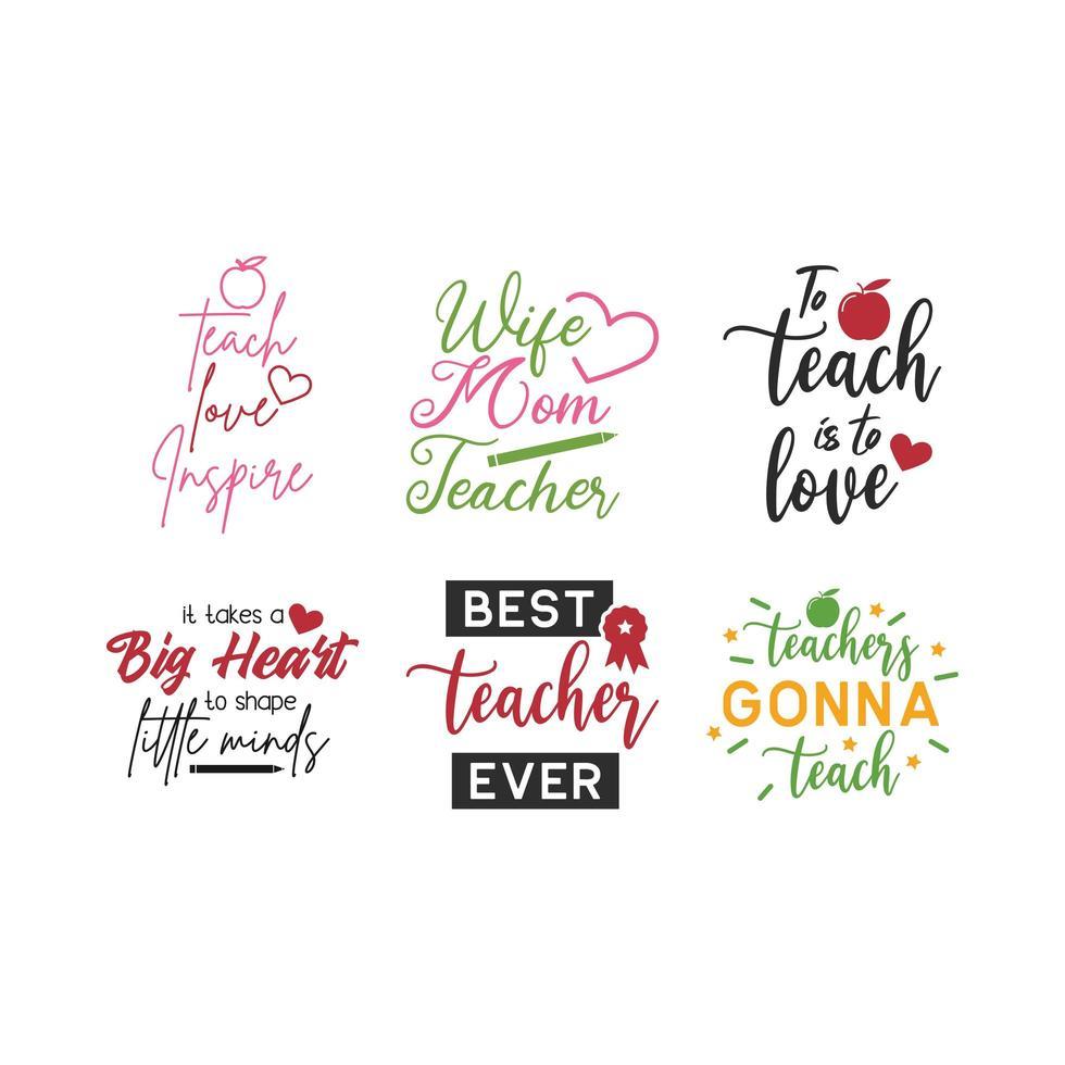 Ensemble de typographie lettrage citation enseignant vecteur