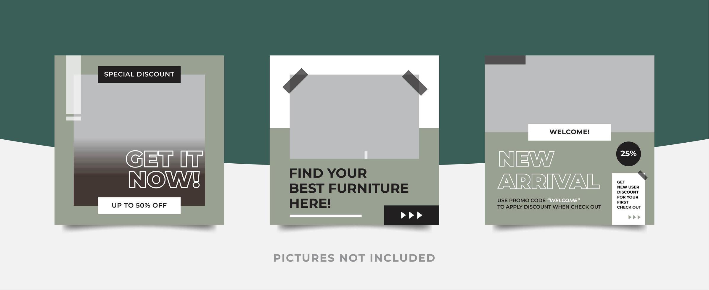 Modèle de pack de médias sociaux de meubles modernes vecteur