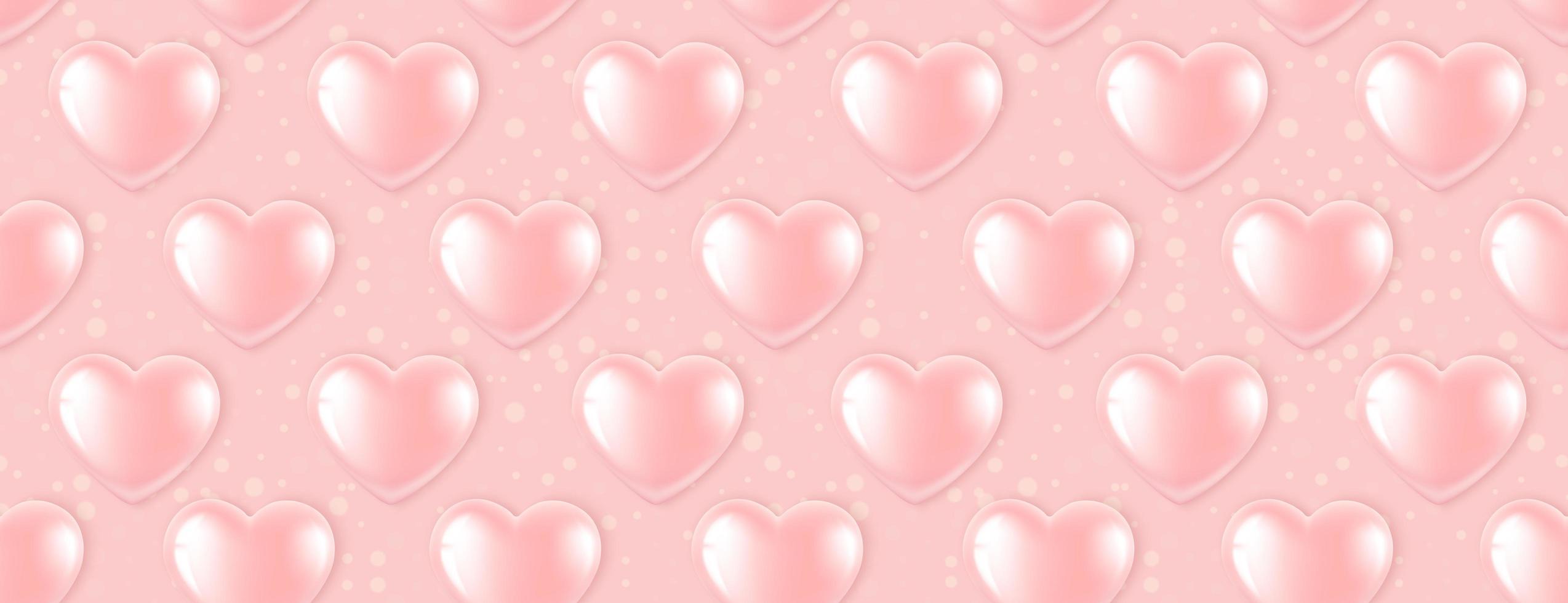 Modèle sans couture avec des ballons coeur rose vecteur