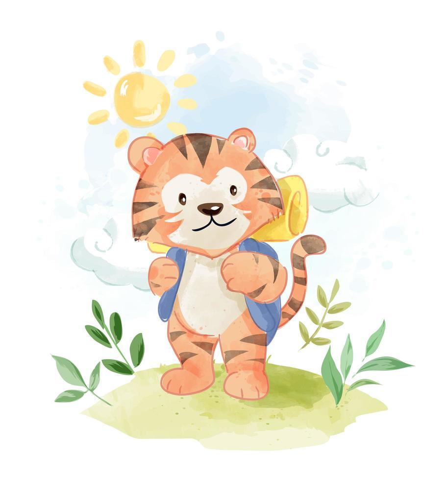 dessin animé tigre avec sac à dos camping vecteur