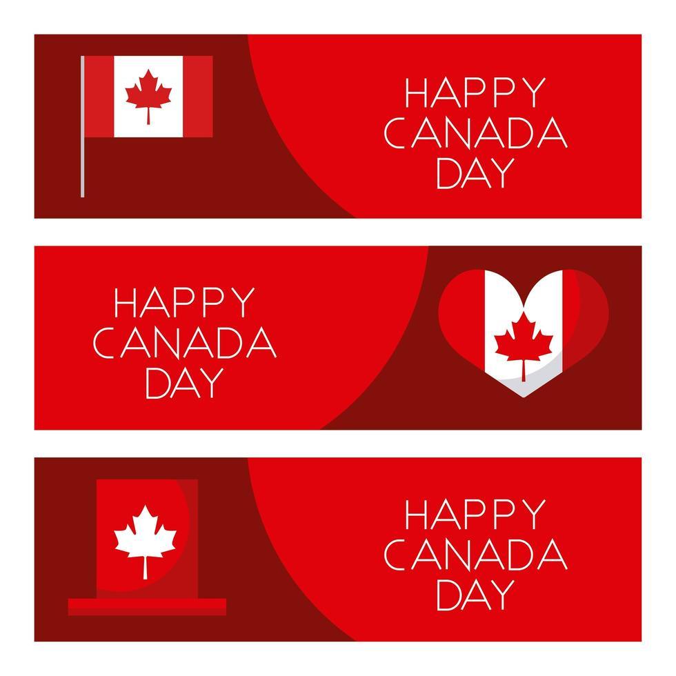 ensemble de cartes de fête du canada heureux vecteur