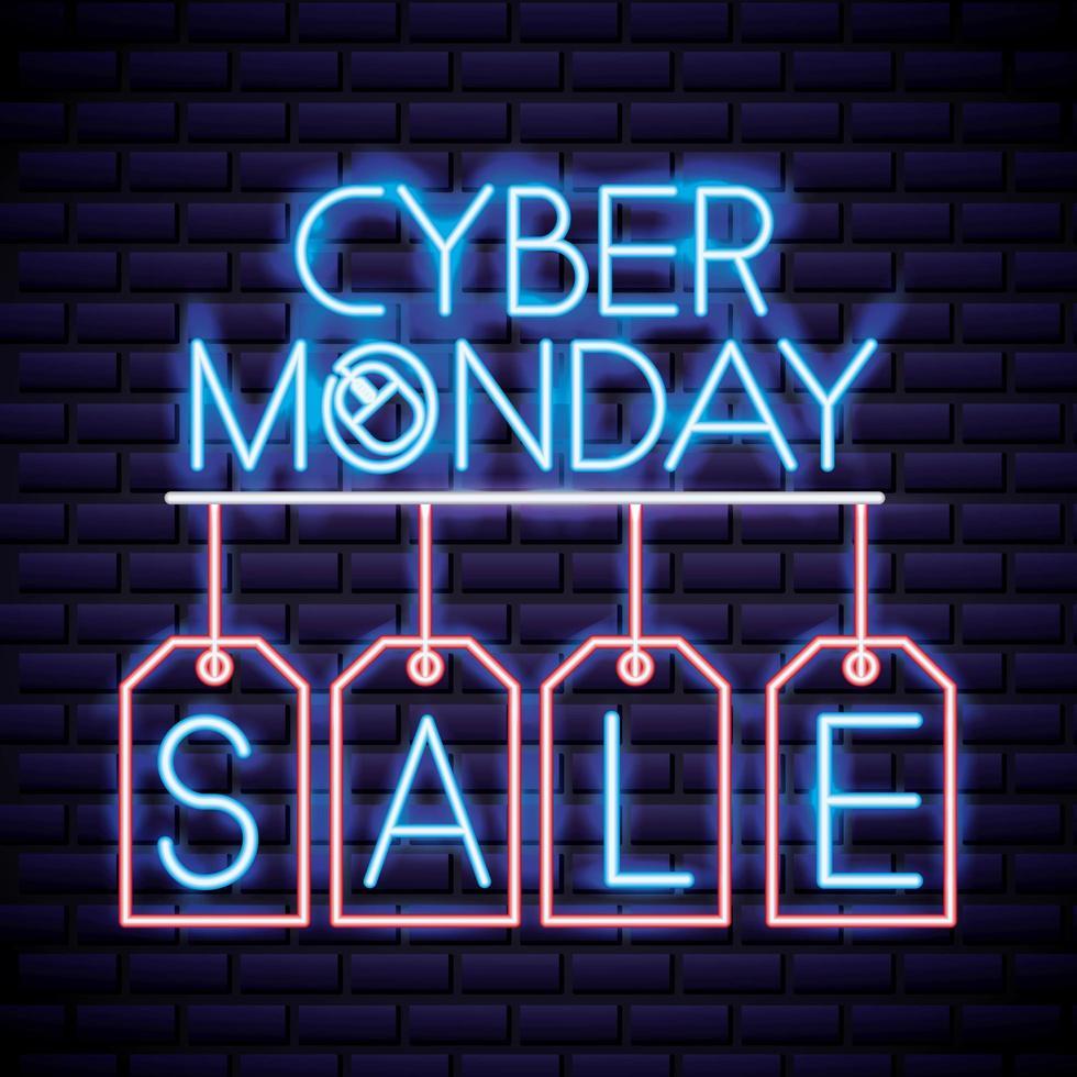 Signe de vente au néon Cyber Monday vecteur