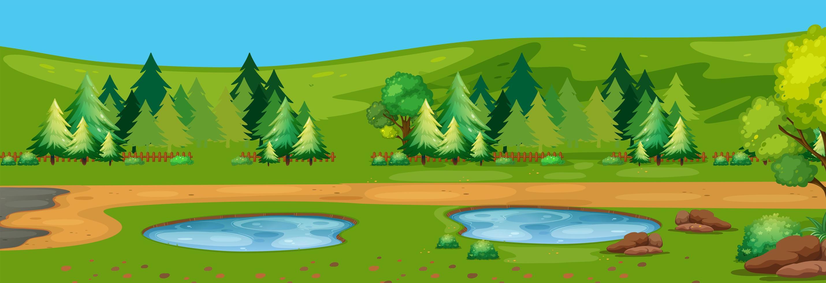 Un paysage naturel plat vecteur