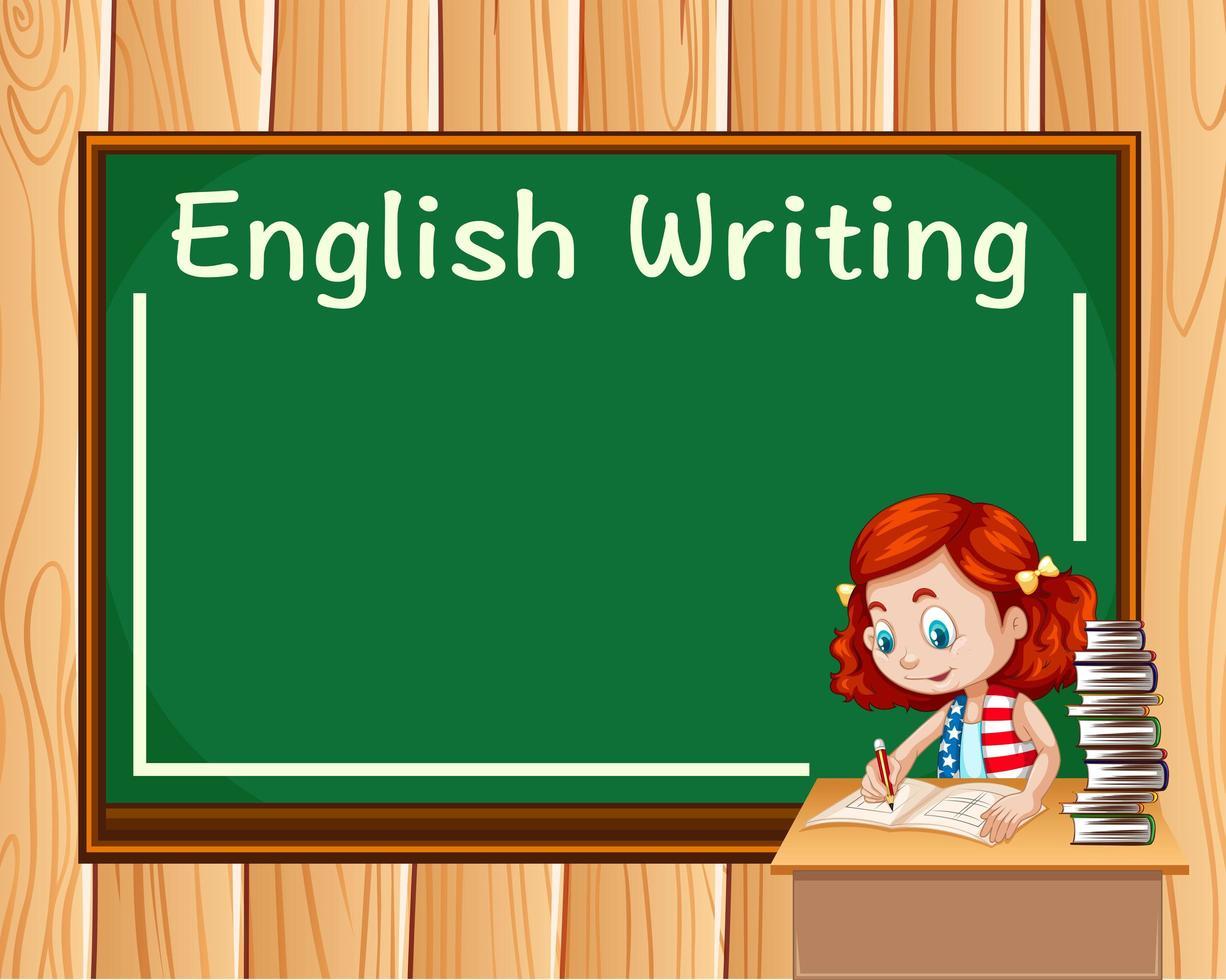 Fille écrit en classe d'anglais vecteur
