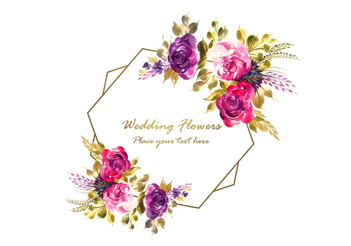 cadre de fleurs avec fond de carte de mariage vecteur