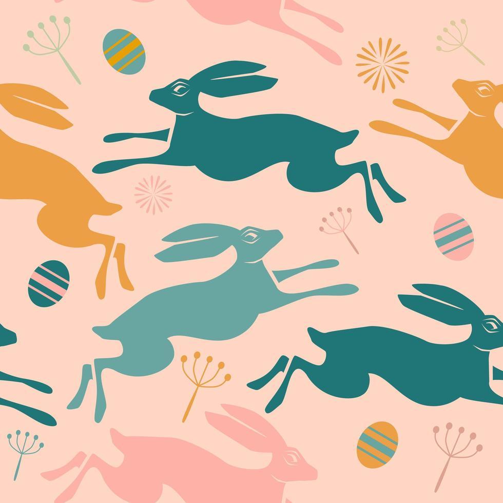 Modèle de Pâques sans couture avec des lapins et des œufs. vecteur