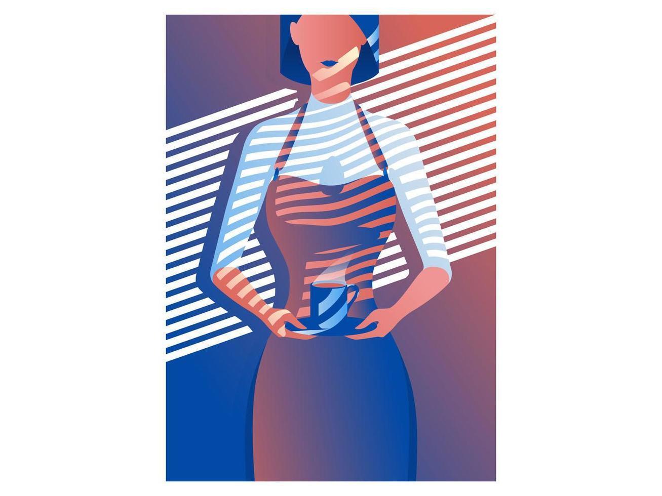 Illustration minimale de serveuse de café féminin vecteur