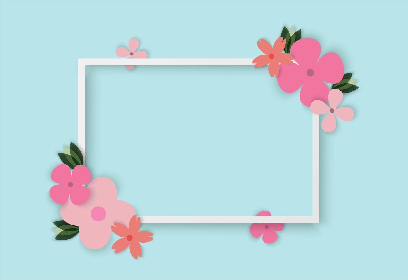 Fleurs colorées avec cadre carré vecteur