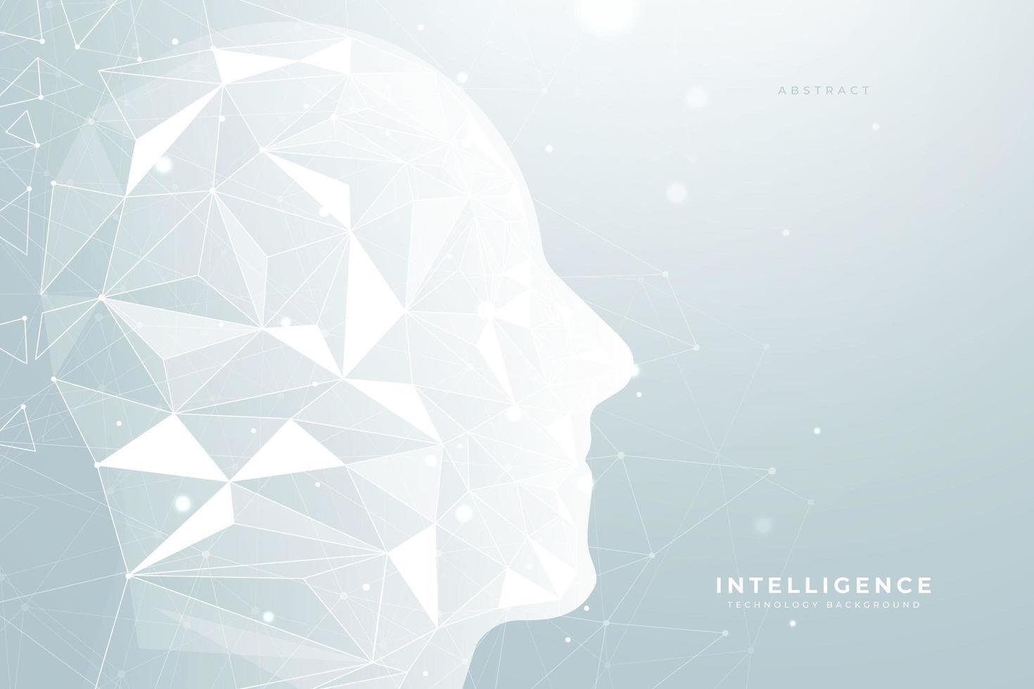 Fond de technologie avec visage géométrique vecteur