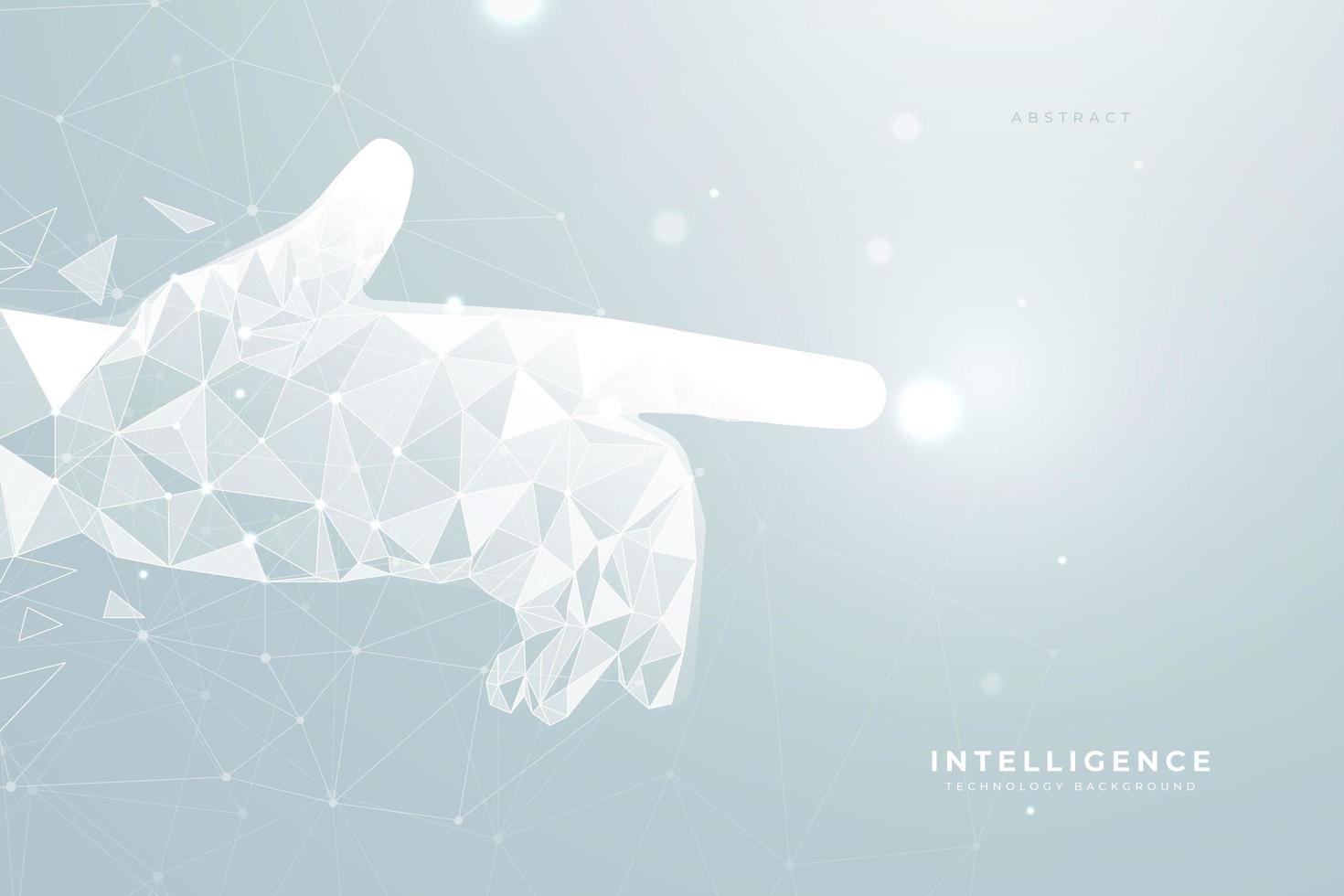 Contexte futuriste avec main géométrique pointant à la lumière vecteur