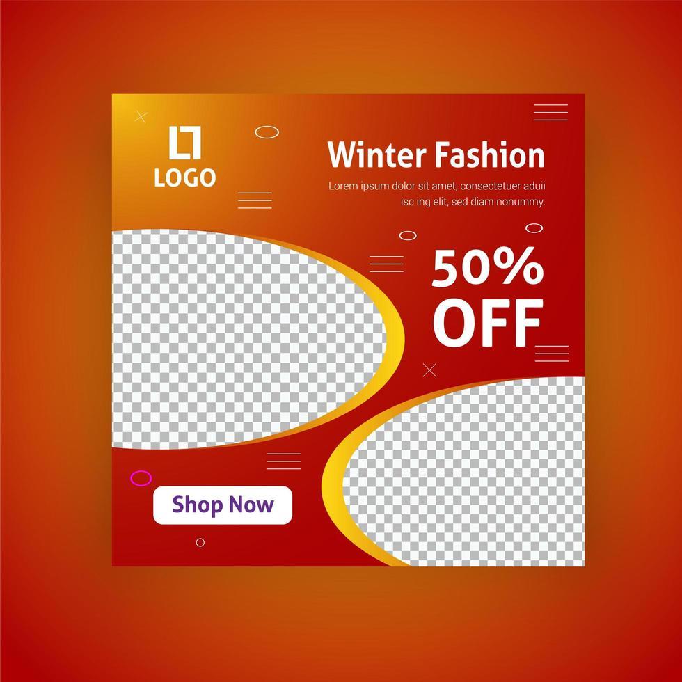 Modèle de publication de médias sociaux de vente de mode d'hiver vecteur