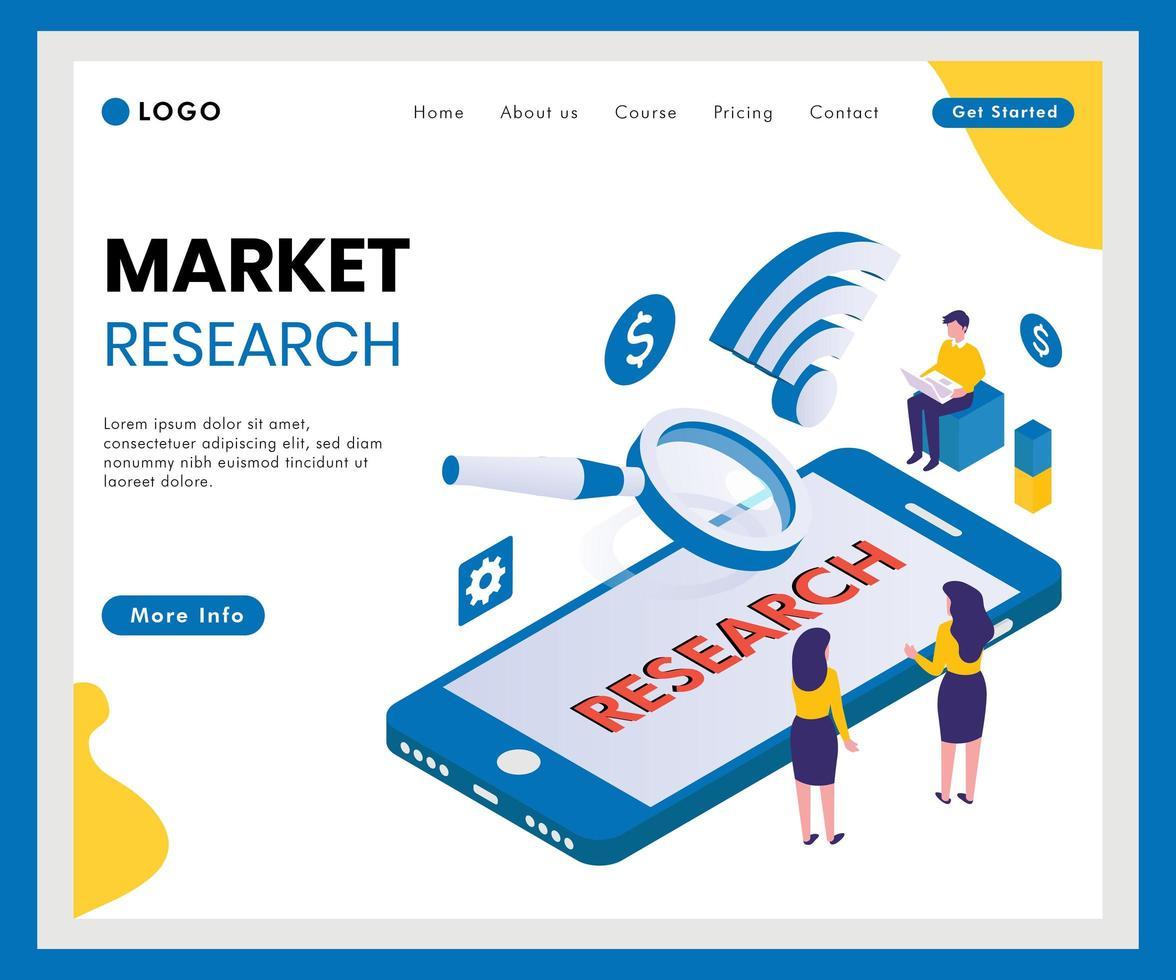 Bannière web isométrique d'études de marché vecteur