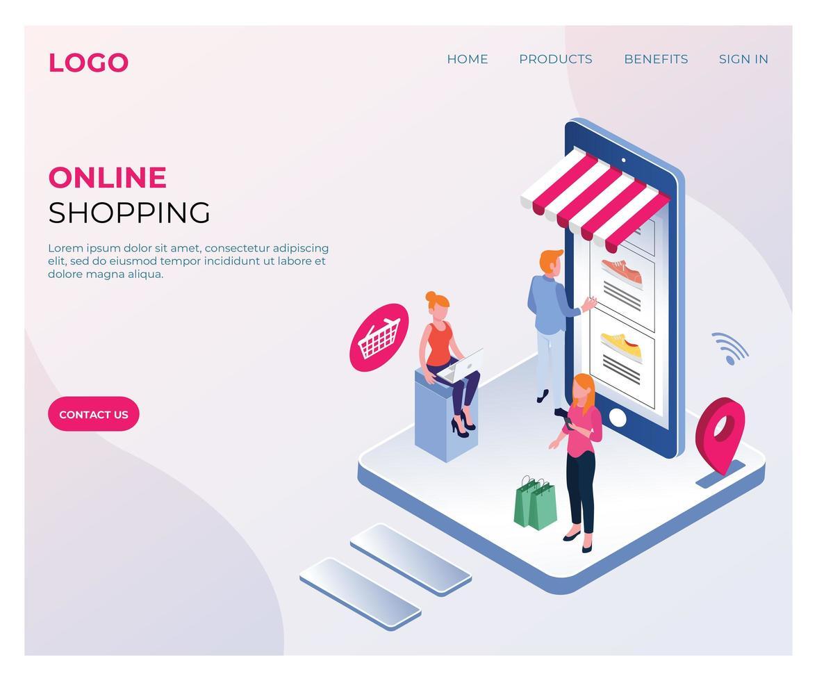 page de destination isométrique de magasinage en ligne vecteur