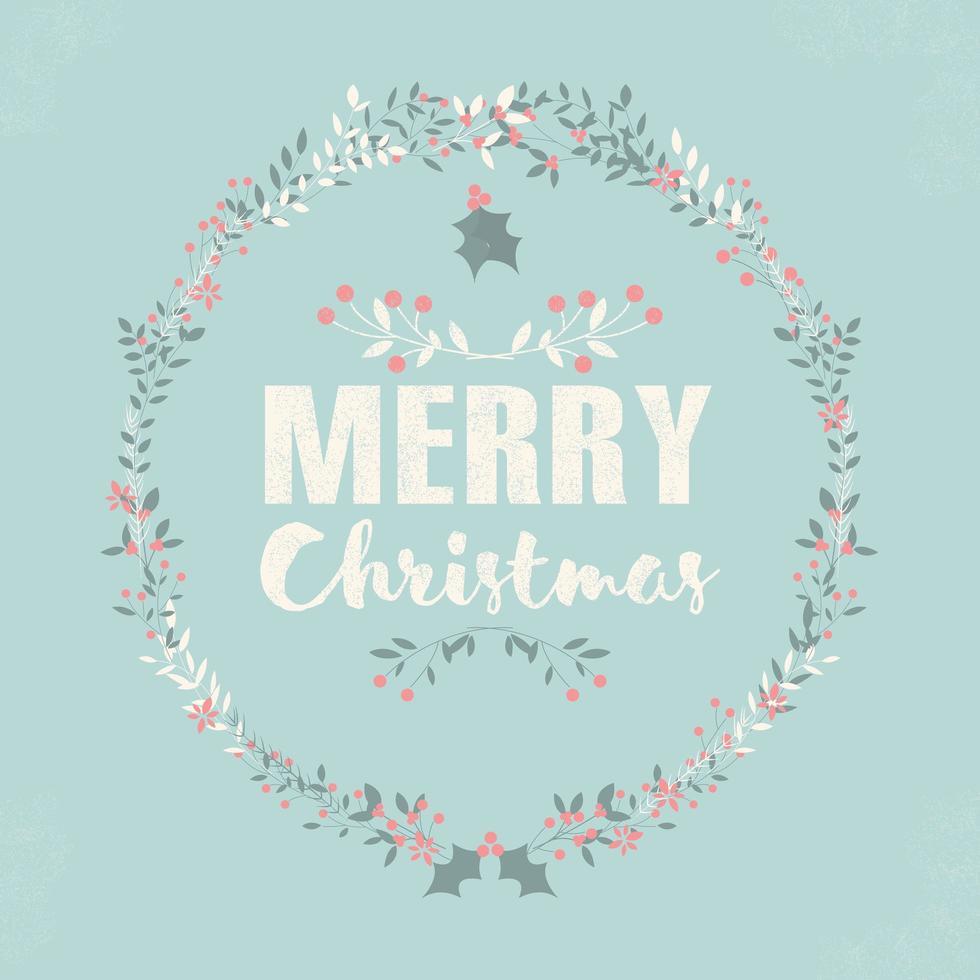 Carte postale joyeux Noël avec lettrage et couronnes florales vecteur
