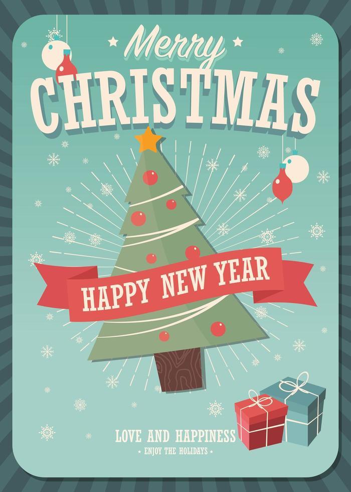 Carte de joyeux Noël avec arbre de Noël et cadeaux vecteur