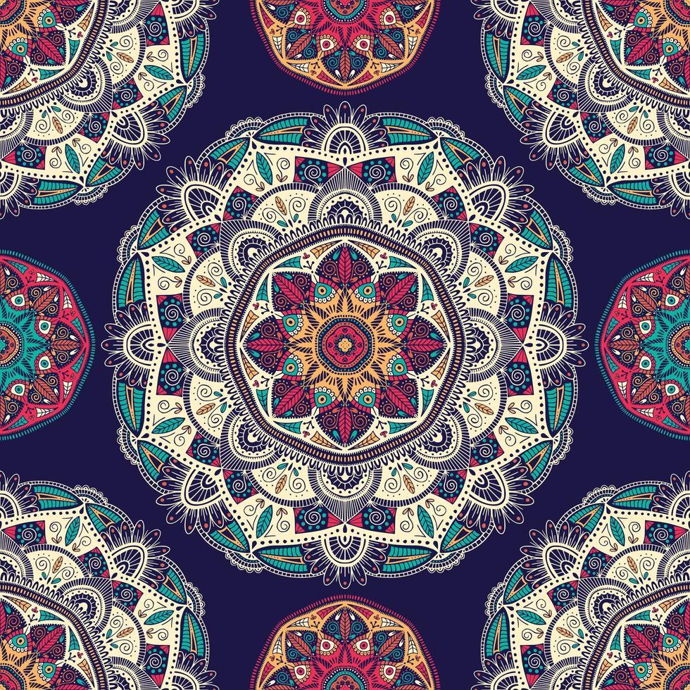 Modèle sans couture avec des mandalas ethniques floraux ornementaux vecteur