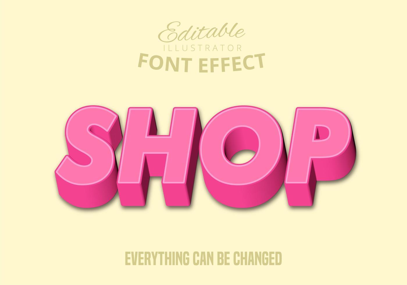 Texte de la boutique, style de texte modifiable vecteur