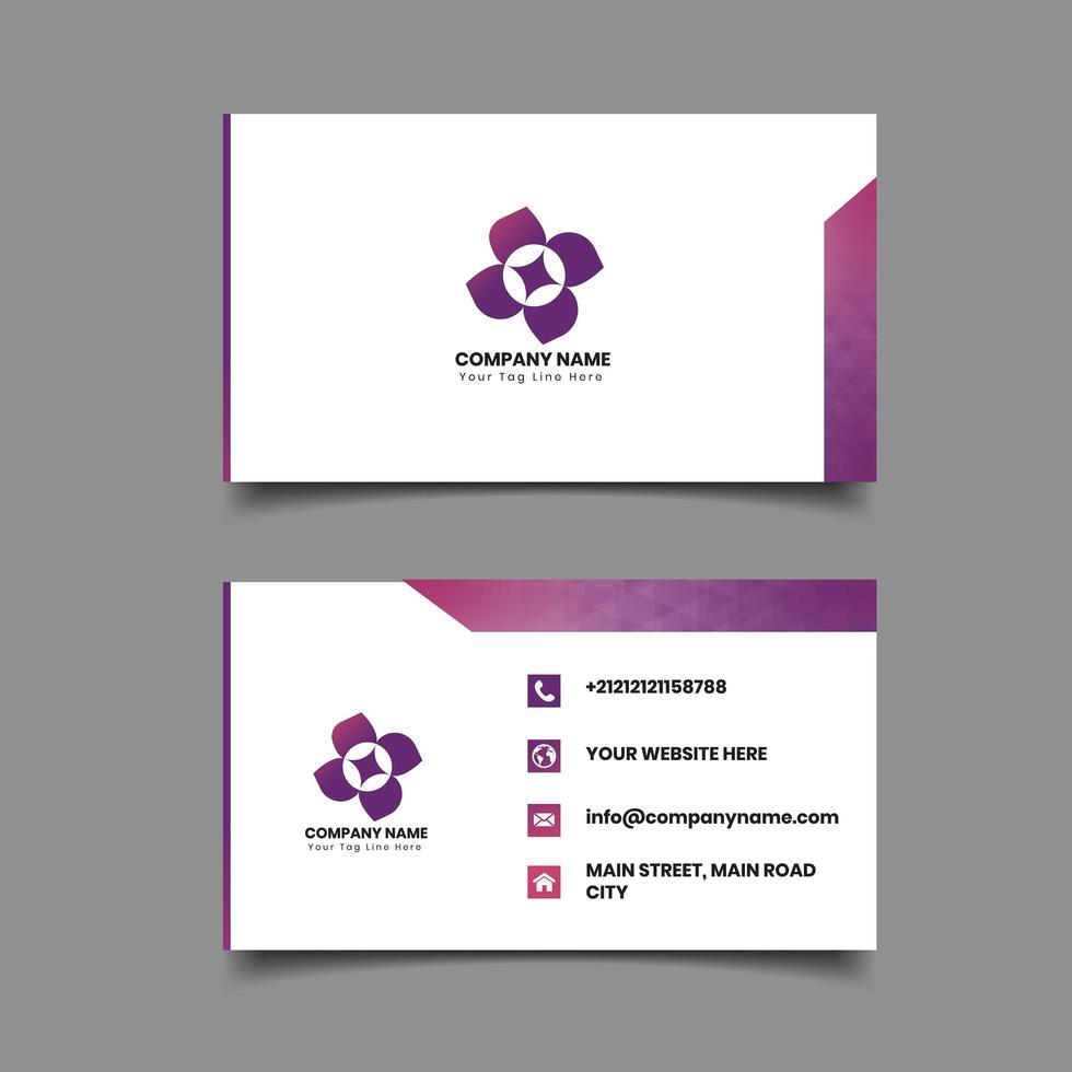 Modèle de carte de visite frontière géométrique rose et violet vecteur