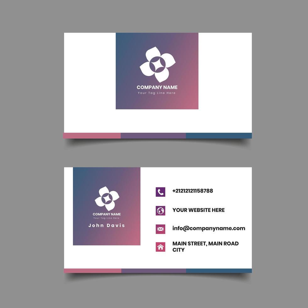 Modèle de carte de visite carré dégradé rose et violet vecteur