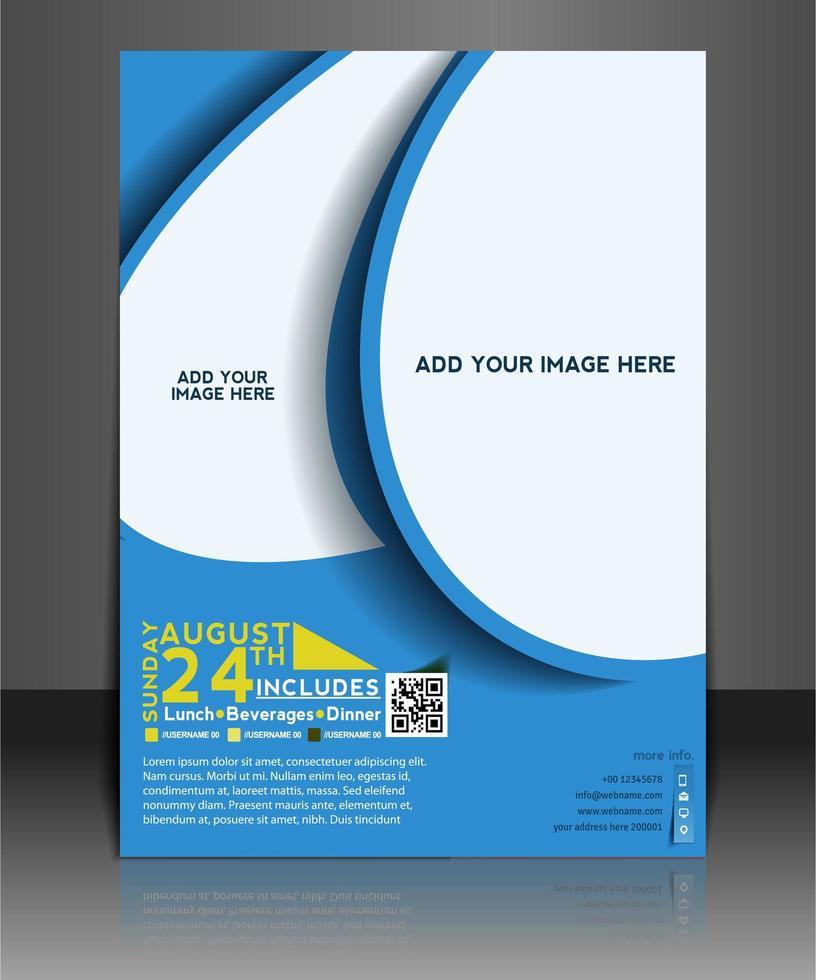 Modèle de Brochure de design bleu arrondi vecteur
