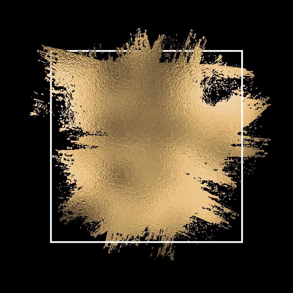 Éclaboussures de feuille d'or avec cadre blanc sur fond noir vecteur