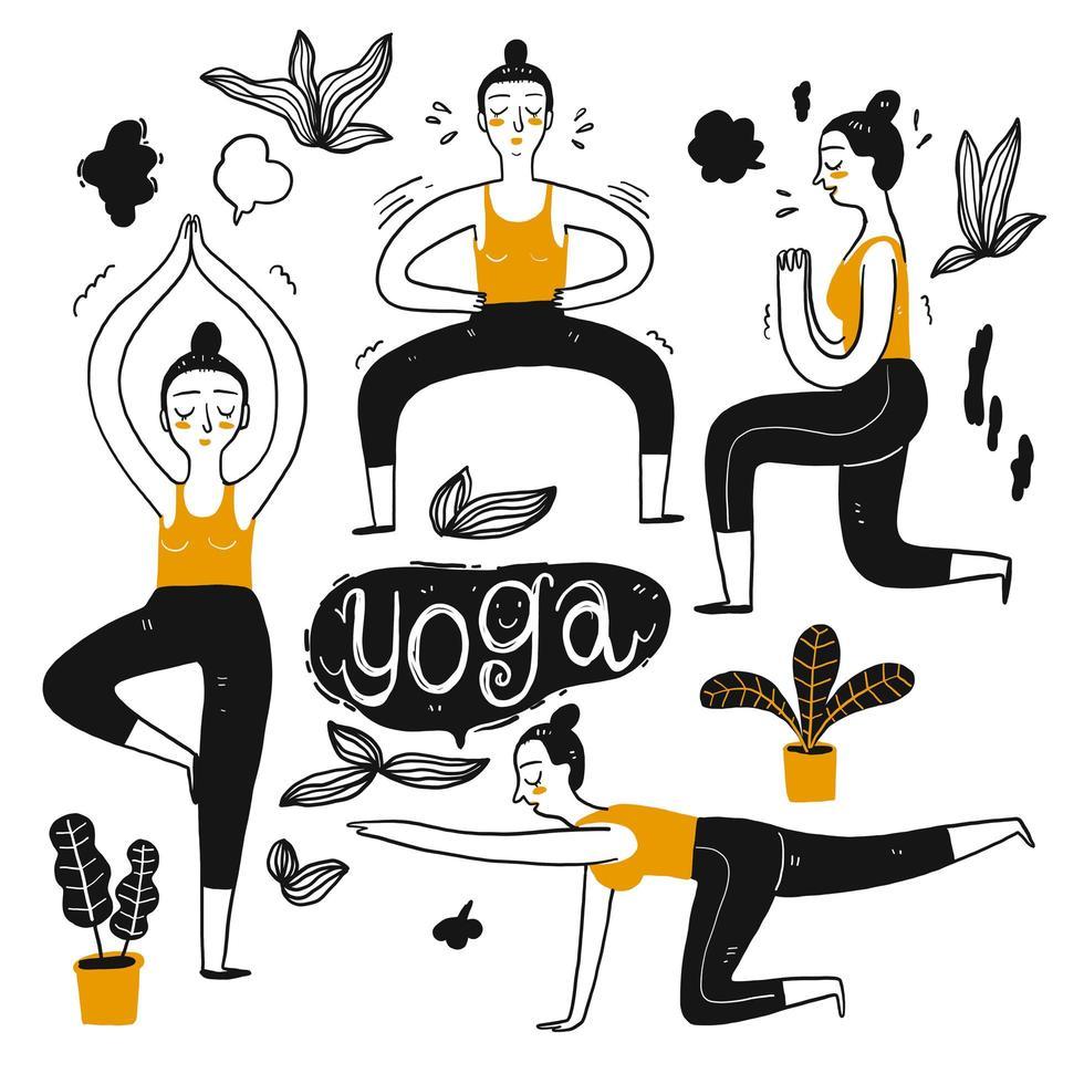 Femmes dans des poses de yoga vecteur
