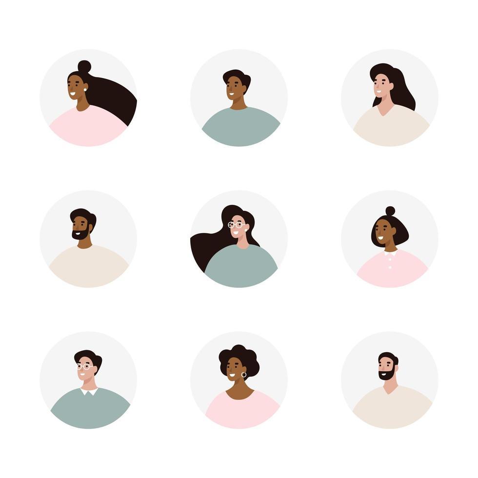 Ensemble d'avatars de personnes vecteur