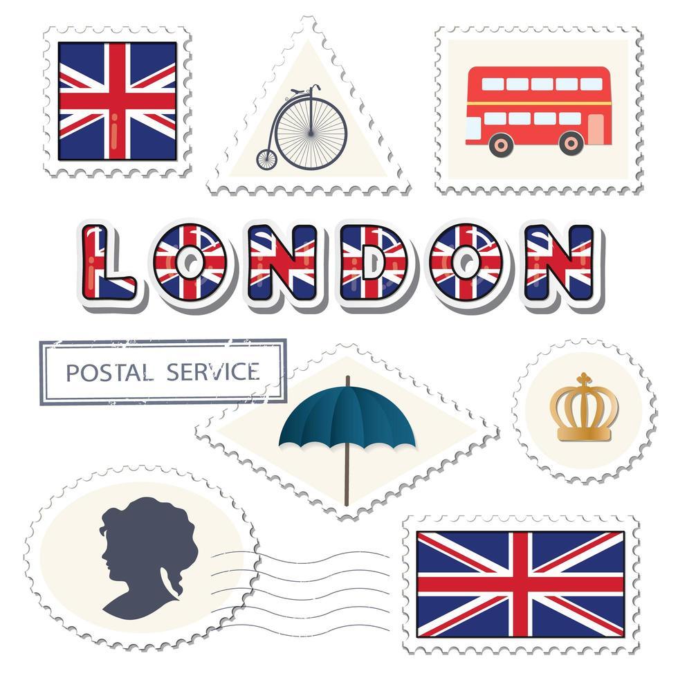 Ensemble d'affranchissement de Londres. Timbres britanniques décoratifs. vecteur