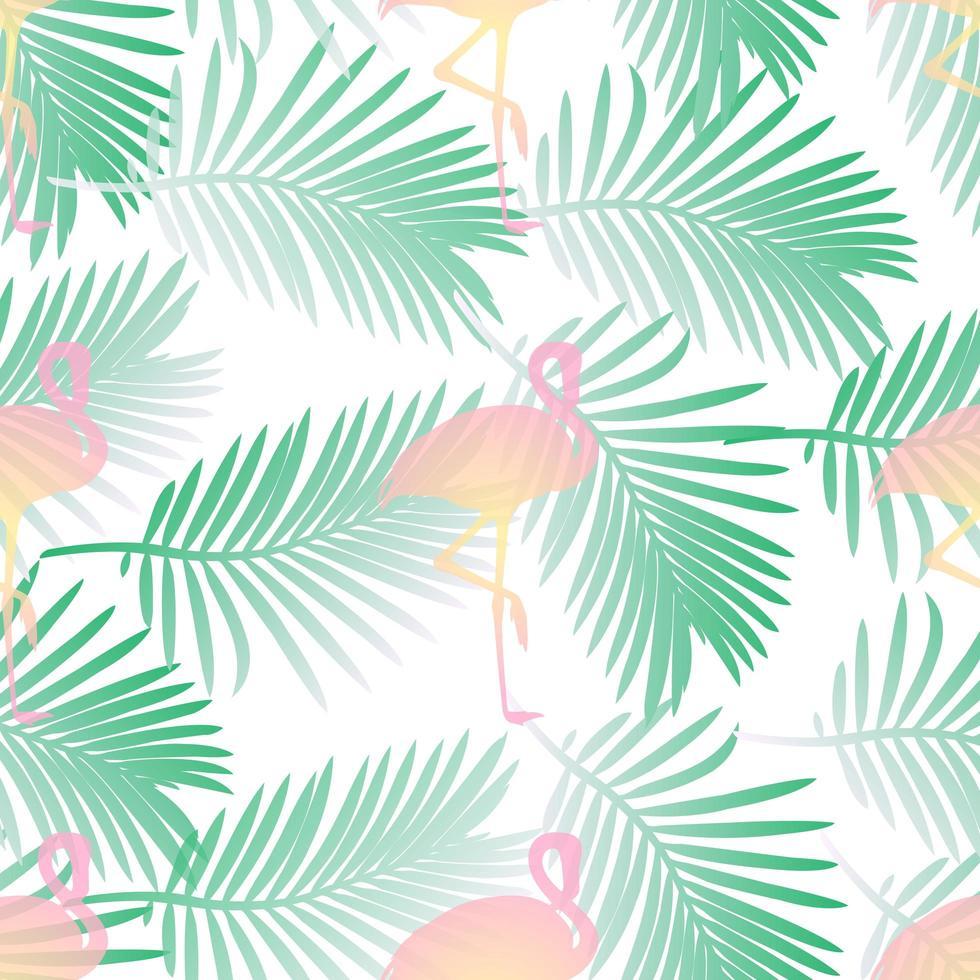 Impression de fond transparente avec flamants roses et feuille de palmier vecteur