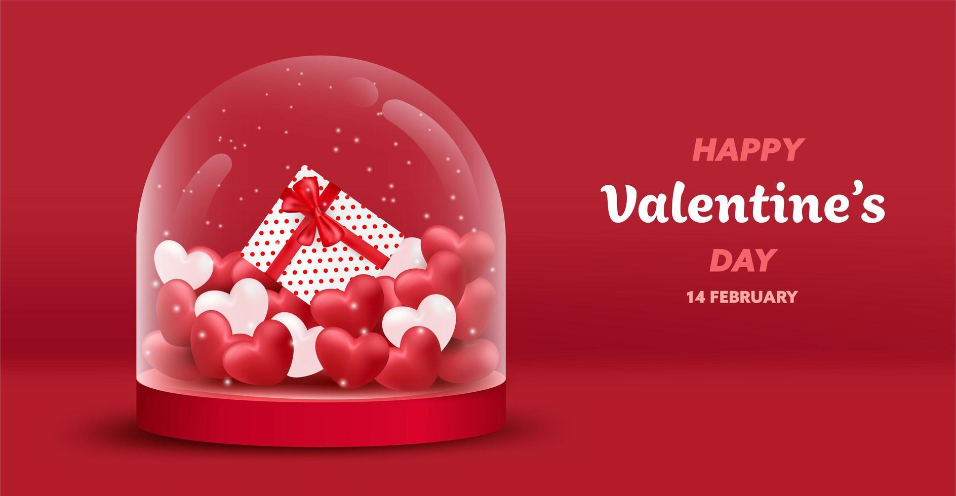 Fond de bocal en verre Happy Valentine's Day vecteur