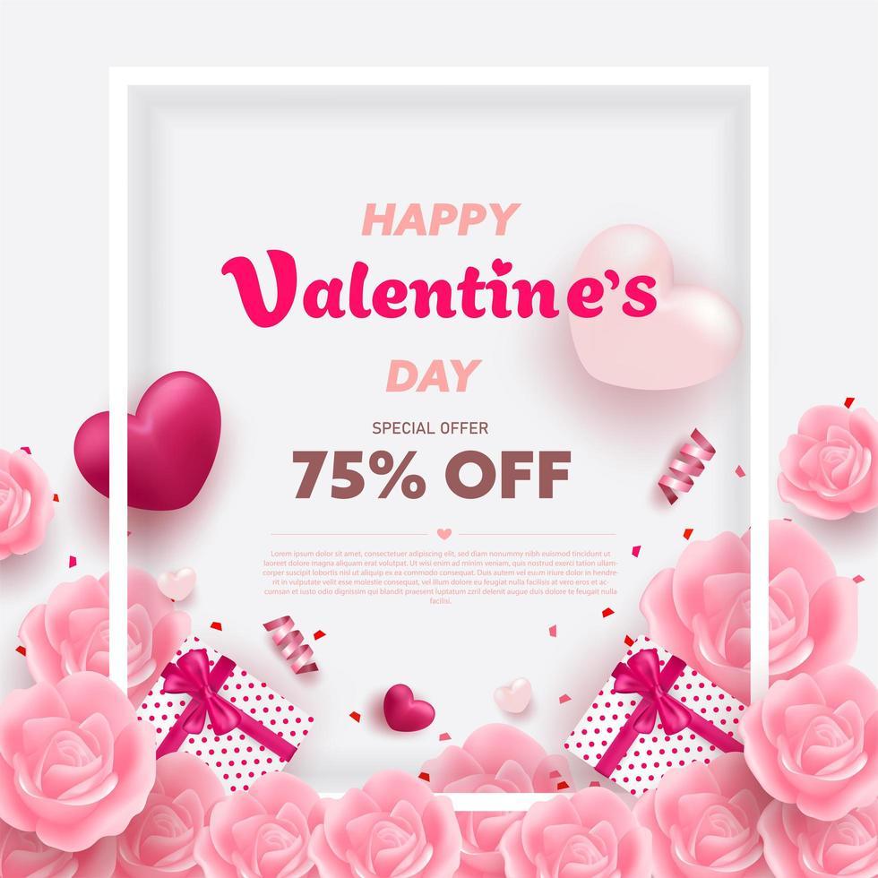 Bannière de la Saint-Valentin heureuse avec des coeurs de luxe rouges et roses vecteur