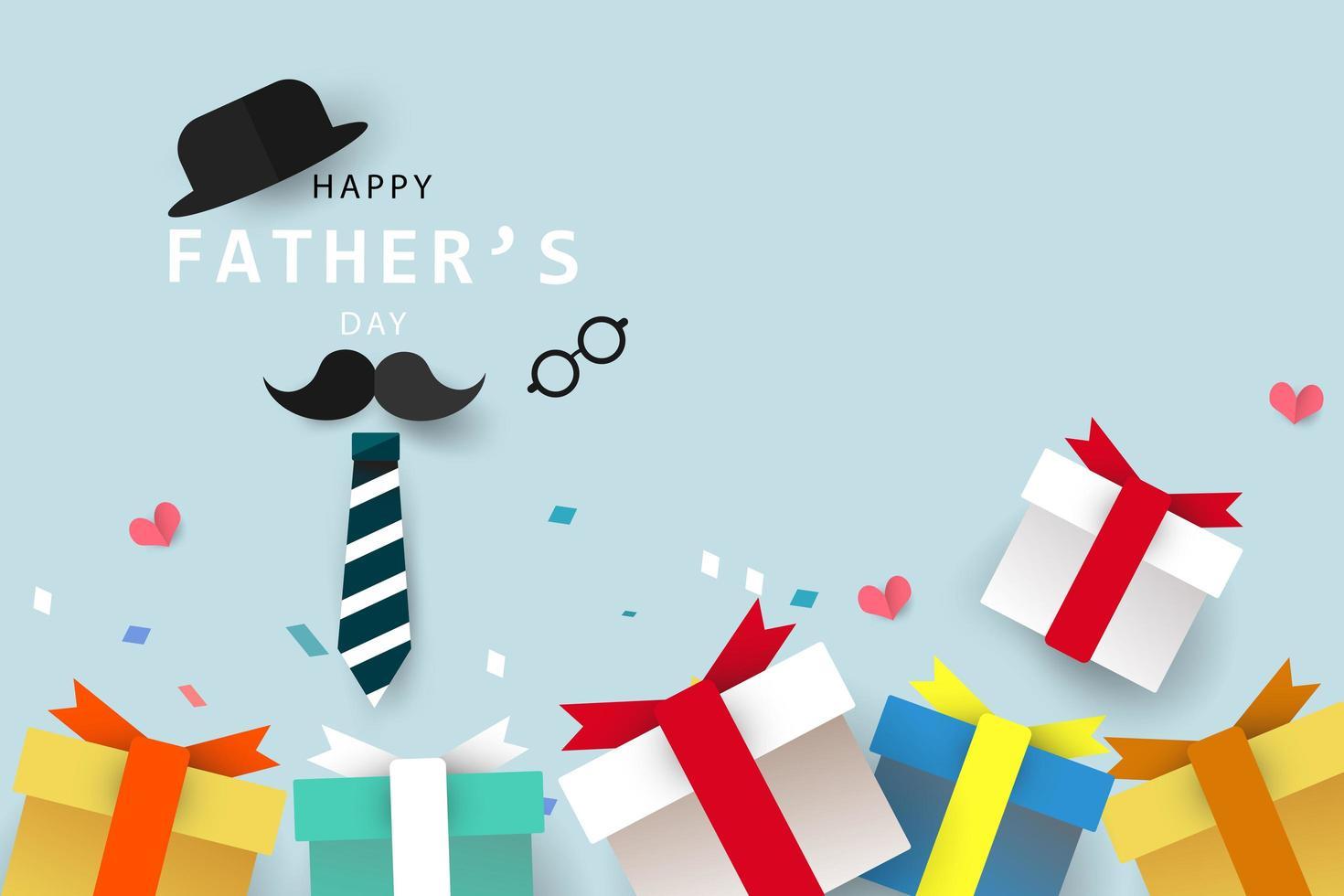 Bannière et fond de carte de voeux bonne fête des pères vecteur